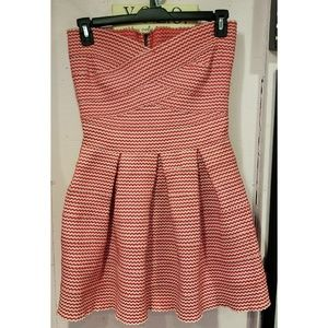 Gracia red and white stretch knit dress